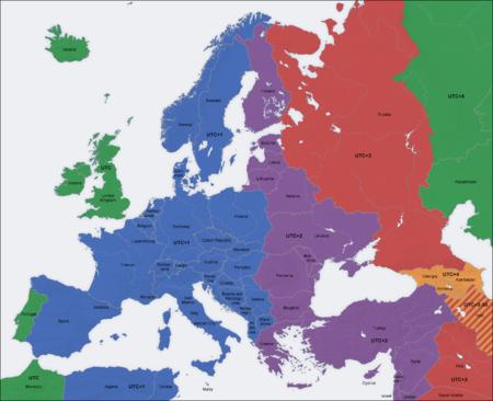 разница во времени с Европой