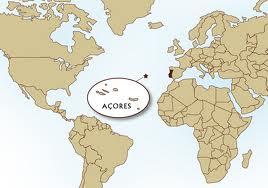 Азорские острова на карте мира