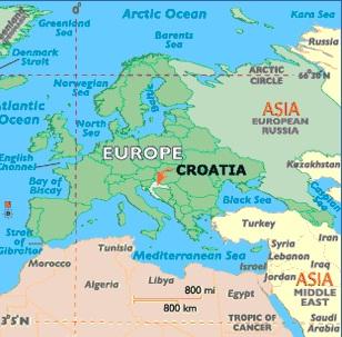 Хорватия на карте Европы